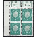 Mi. Nr. 182 Eckrandviererblock links oben mit Druckerzeichen 7