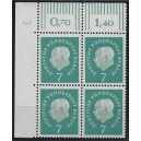 Mi. Nr. 182 Eckrandviererblock links oben mit Druckerzeichen 3