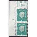 Mi. Nr. 182 senkrechtes Eckrandpaar links oben mit Druckerzeichen 7
