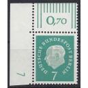 Mi. Nr. 182 Eckrandstück links oben mit Druckerzeichen 7