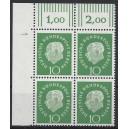 Mi. Nr. 183 Eckrandviererblock links oben mit Druckerzeichen 1 postfrisch