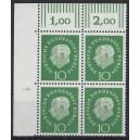 Mi. Nr. 183 Eckrandviererblock links oben mit Druckerzeichen 1