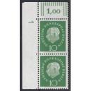 Mi. Nr. 183 senkrechtes Eckrandpaar links oben mit Druckerzeichen 1