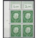 Mi. Nr. 183 Eckrandviererblock links oben mit Druckerzeichen 4