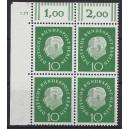 Mi. Nr. 183 Eckrandviererblock links oben mit Druckerzeichen 5