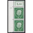Mi. Nr. 183 senkrechtes Eckrandpaar links oben mit Druckerzeichen 8