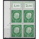 Mi. Nr. 183 Eckrandviererblock links oben mit Druckerzeichen 8