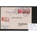 Heuss Lumogen 5 Pf Mi. Nr. 179y im Eckrandpaar rechts unten im Walzendruck auf portogerechtem Brief