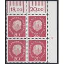 Mi. Nr. 184 Eckrandviererblock rechts oben mit Druckerzeichen 1