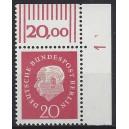 Mi. Nr. 184 Eckrandstück rechts oben mit Druckerzeichen 1