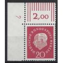 Mi. Nr. 184 Eckrandstück links oben mit Druckerzeichen 2