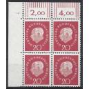 Mi. Nr. 184 Eckrandviererblock links oben mit Druckerzeichen 7