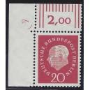 Mi. Nr. 184 Eckrandstück links oben mit Druckerzeichen 4