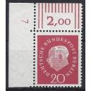 Mi. Nr. 184 Eckrandstück links oben mit Druckerzeichen 7