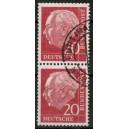 Heuss Lumogen 25 Pf Mi. Nr. 186y im Paar auf portogerechtem Einschreibe-Brief