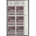 Mi. Nr. 506 als senkrechter Eckrandsechserblock rechts oben mit Druckerzeichen 7 postfrisch