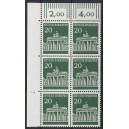 Mi. Nr. 507 als senkrechter Eckrandsechserblock links oben mit Druckerzeichen 7 postfrisch