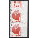 Mi. Nr 694 senkrechtes Eckrandpaar rechts oben mit Druckerzeichen 5