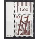 Mi. Nr 695 Eckrandstück links oben mit Druckerzeichen 7