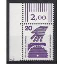 Mi. Nr 696 Eckrandstück links oben mit Druckerzeichen 7