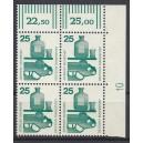 Mi. Nr 697 Eckrandviererblock rechts oben mit Druckerzeichen 10 postfrisch