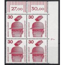 Mi. Nr 698 Eckrandviererblock rechts oben mit Druckerzeichen 7 postfrisch