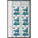 Mi. Nr 700 Eckrandsechserblock links oben mit Druckerzeichen 1