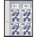 Mi. Nr 701 Eckrandviererblock links oben mit Druckerzeichen 5 postfrisch