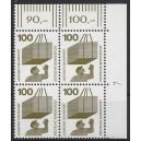 Mi. Nr 702 Eckrandviererblock rechts oben mit Druckerzeichen 7 postfrisch