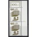Mi. Nr 702 senkrechtes Eckrandpaar rechts oben mit Druckerzeichen 7