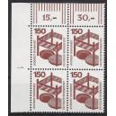 Mi. Nr 703 Eckrandviererblock links oben mit Druckerzeichen 1 postfrisch