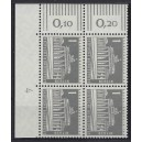 Mi. Nr 140 yw Eckrandviererblock links oben mit Druckerzeichen 4 postfrisch mit Kurzbefund