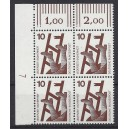 Mi. Nr 695 Eckrandviererblock links oben mit Druckerzeichen 7