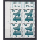 Mi. Nr 700 Eckrandviererblock links oben mit Druckerzeichen 1