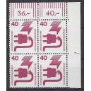 Mi. Nr 699 Eckrandviererblock rechts oben mit Druckerzeichen 7