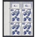Mi. Nr 701 Eckrandviererblock links oben mit Druckerzeichen 7