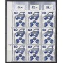 Mi. Nr 701 Eckrandneunerblock links oben mit Druckerzeichen 7