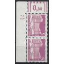Mi. Nr 141 postfrisch als senkrechtes Eckrandpaar links oben mit Druckerzeichen 7 und Gummi.