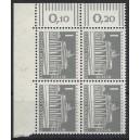 aMi. Nr 140 y Eckrandviererblock links oben mit Druckerzeichen 5
