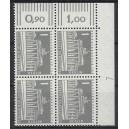 Mi. Nr 140 y Eckrandviererblock rechts oben mit Druckerzeichen 7