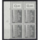 Mi. Nr 140 y Eckrandviererblock links oben mit Druckerzeichen 10 mit Gummi postfrisch