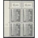 Mi. Nr 140 y Eckrandviererblock links oben mit Druckerzeichen 12 mit Gummi postfrisch.