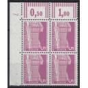 Mi. Nr 141 Eckrandviererblock links oben mit Druckerzeichen 7 mit Gummi postfrisch.