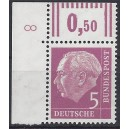 Mi. Nr. 179xwW im postfrischen Eckrand links oben mit Druckerzeichen 8 positiv.