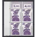 Mi. Nr 696 Eckrandviererblock links oben mit Druckerzeichen 7