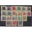 Mi. Nr. 1-20 zentrisch gestempelt auf kleinen Briefstücken
