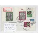 Mi. Nr. 139/40 und 141/42 jeweils im Eckrand oben auf portogerechtem R-Brief.