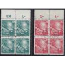 Mi. Nr. 111/12 Oberrandviererblöcke mit Ersttagsstemepel und Plattenfehler