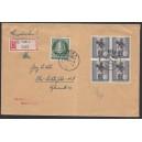 Mi. Nr 102 als Einzelmarke und 120 im Viererblock gestempelt auf Brief