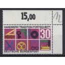 Mi. Nr 553 im Eckrand rechts oben mit Dreifachdruck postfrisch.